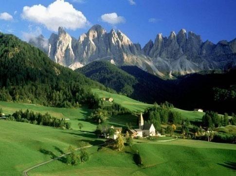 Santa Maddalena and Mt. Odle in the Italian Dolomites.