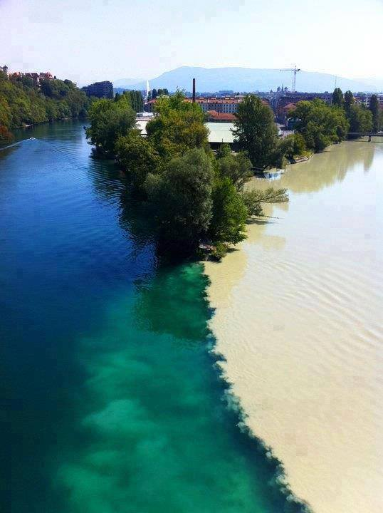 Junction of two rivers Rhone and Arve rivers in Geneva, Switzerland