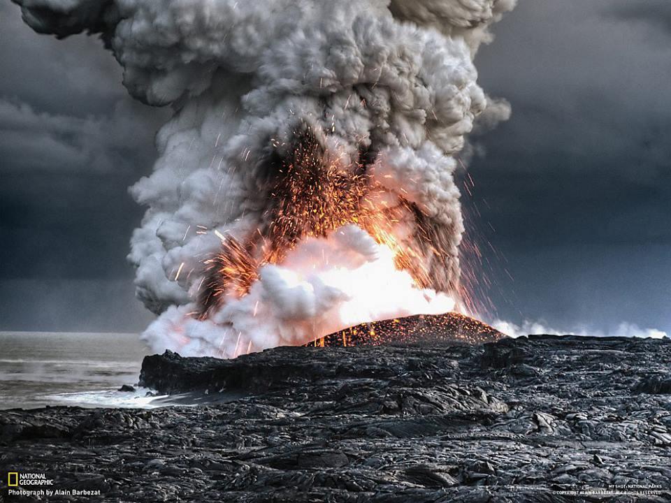 Lava Explodes into the Ocean, Hawaii